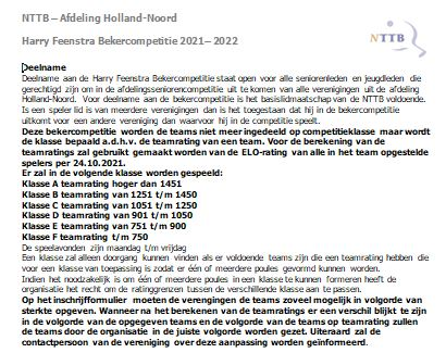 Harry Feenstra Bekercompetitie 2021-2022